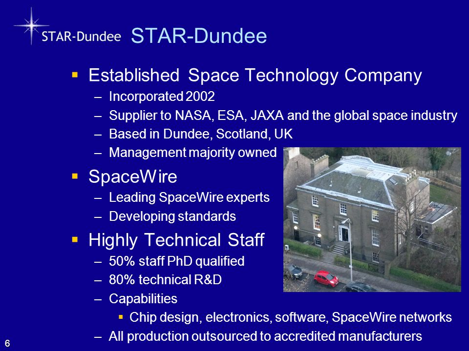STAR-Dundee  Established Space Technology Company –Incorporated 2002 –Supplier to NASA, ESA, JAXA and the global space industry –Based in Dundee, Sco