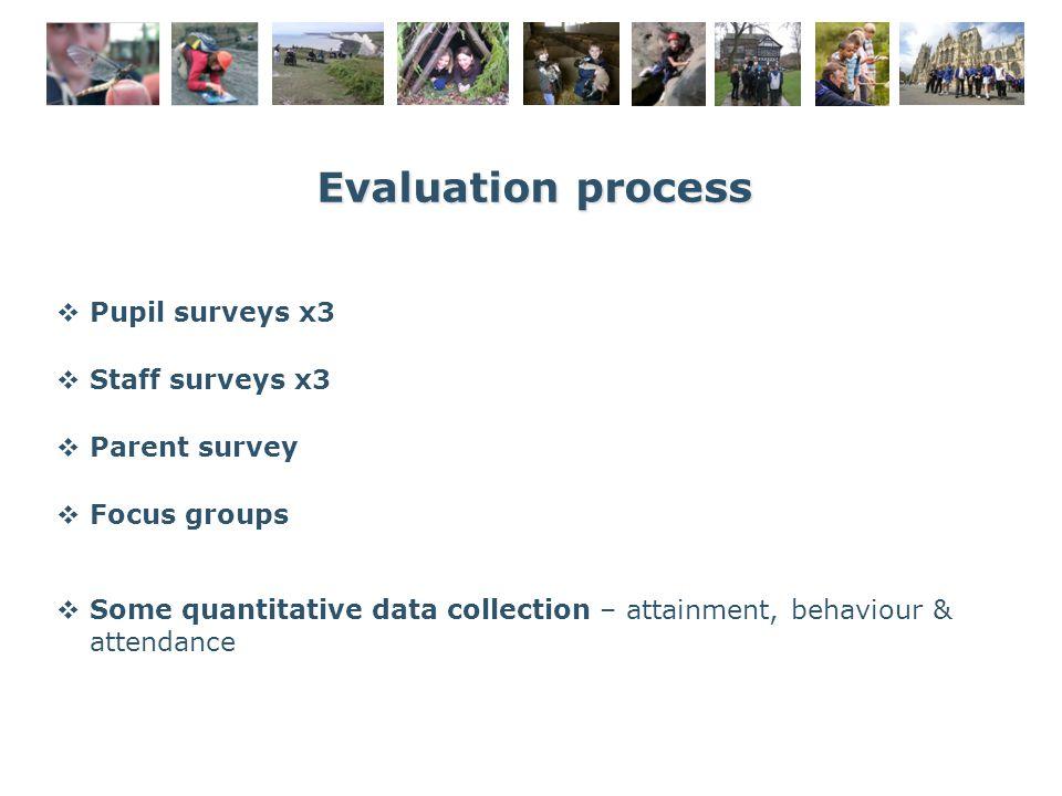 Evaluation process  Pupil surveys x3  Staff surveys x3  Parent survey  Focus groups  Some quantitative data collection – attainment, behaviour & attendance