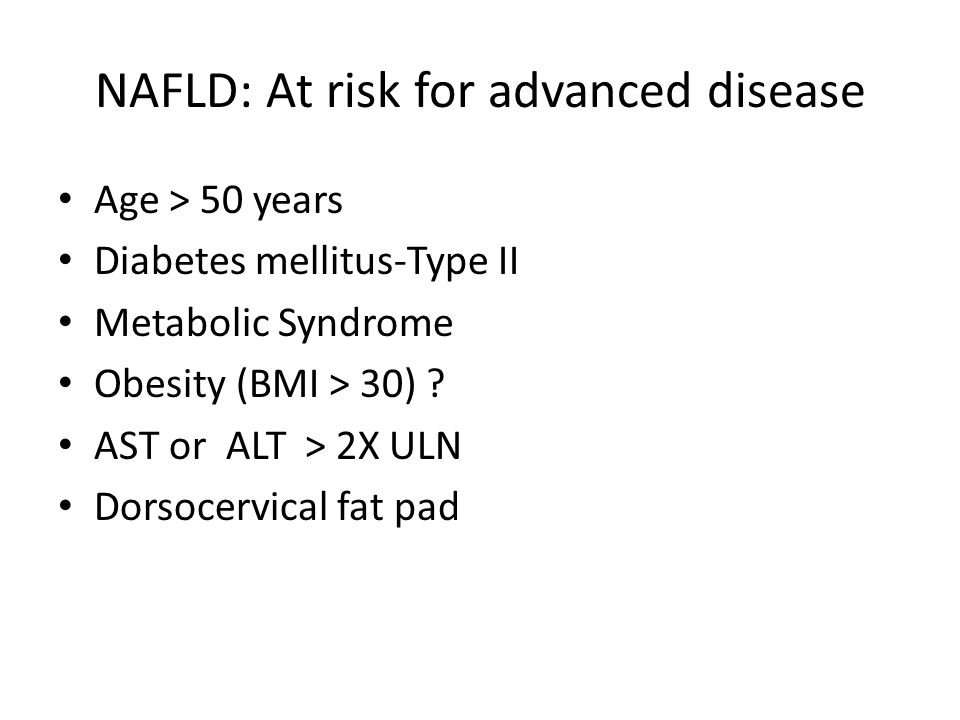 23 NAFLD Prevalence increasing Distinction between simple fatty liver and NASH with moderate to advanced fibrosis is important Non-invasive testing may assist in triaging patients for liver biopsy Therapeutic options remain focused on improving insulin resistance – Heart healthy, low processed carbohydrate diet to produce deficit of 500-1000 cal/day – Exercise, as adjunct to diet, focusing on aerobic activity for 30 minutes/day