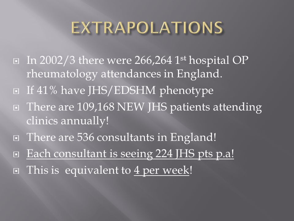  In 2002/3 there were 266,264 1 st hospital OP rheumatology attendances in England.
