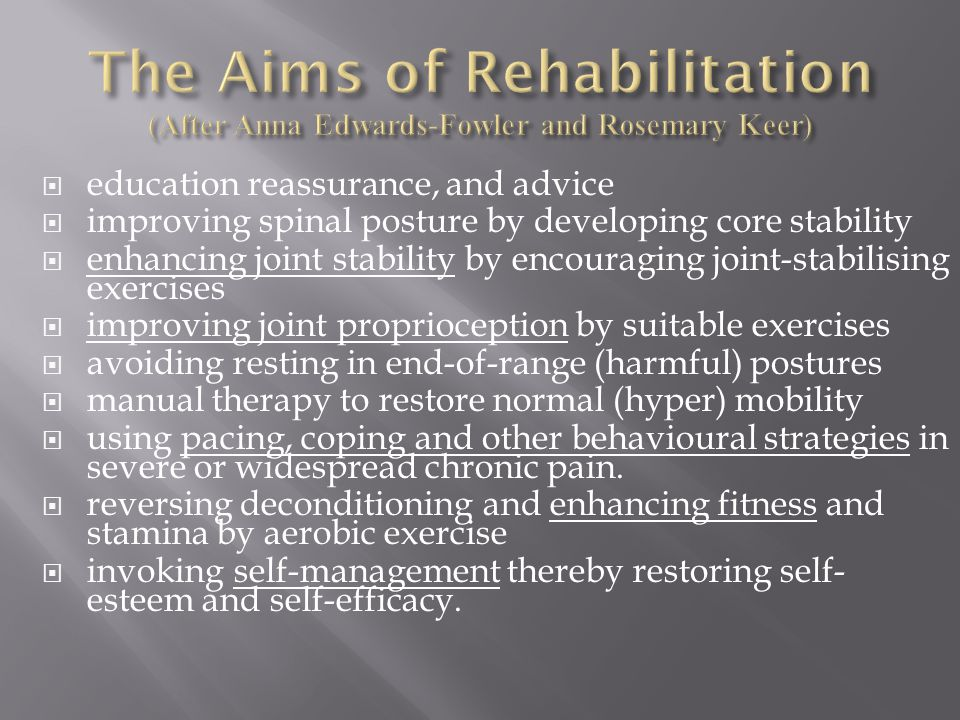  education reassurance, and advice  improving spinal posture by developing core stability  enhancing joint stability by encouraging joint-stabilising exercises  improving joint proprioception by suitable exercises  avoiding resting in end-of-range (harmful) postures  manual therapy to restore normal (hyper) mobility  using pacing, coping and other behavioural strategies in severe or widespread chronic pain.