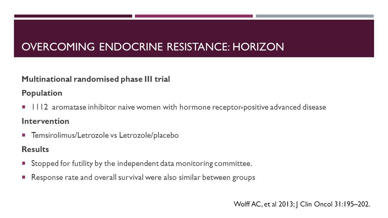 OVERCOMING ENDOCRINE RESISTANCE: HORIZON Multinational randomised phase III trial Population  1112 aromatase inhibitor naive women with hormone recep