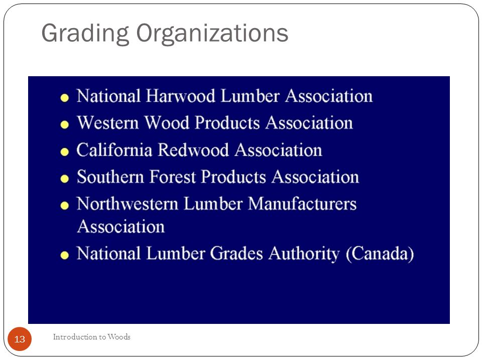 Introduction to Woods 13 Grading Organizations