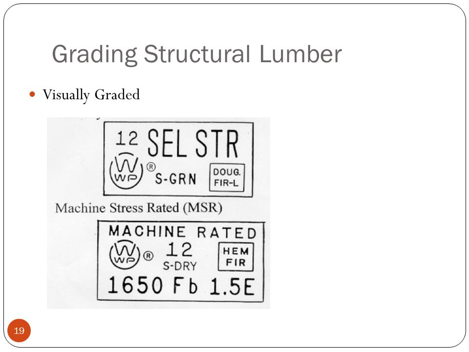 Grading Structural Lumber 19 Visually Graded