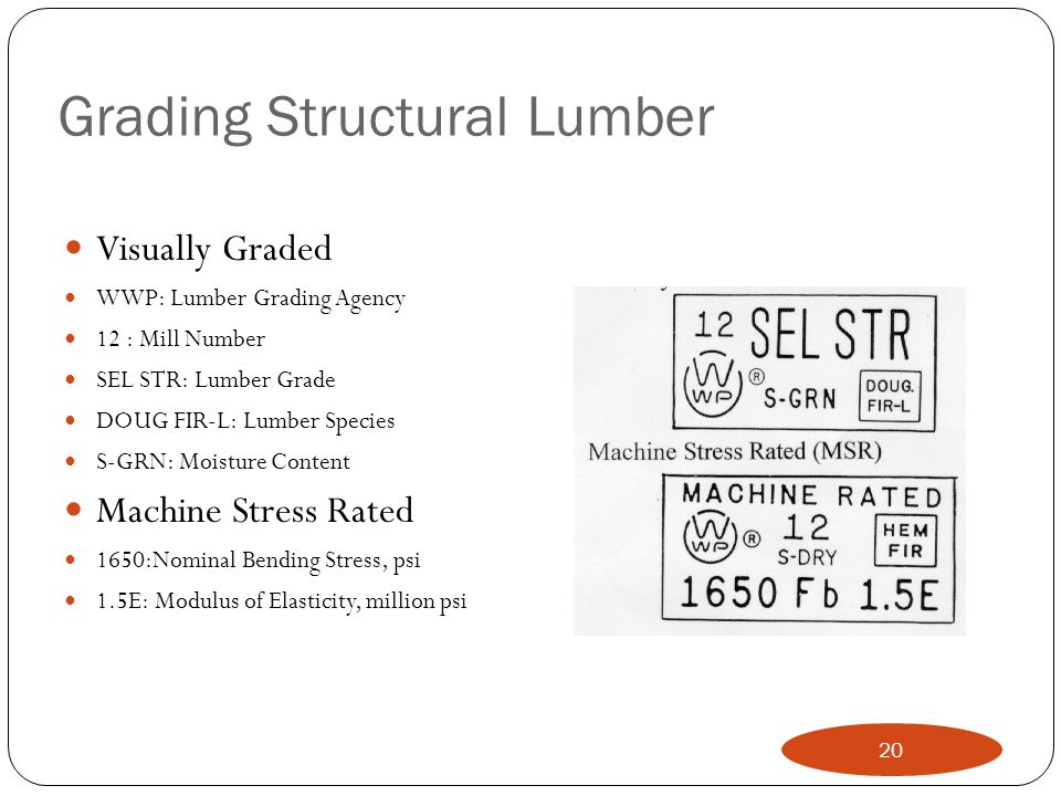 Grading Structural Lumber Visually Graded WWP: Lumber Grading Agency 12 : Mill Number SEL STR: Lumber Grade DOUG FIR-L: Lumber Species S-GRN: Moisture Content Machine Stress Rated 1650:Nominal Bending Stress, psi 1.5E: Modulus of Elasticity, million psi 20