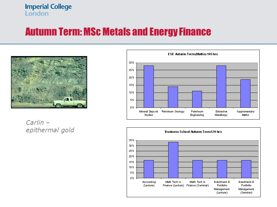 Autumn Term: MSc Metals and Energy Finance Carlin – epithermal gold