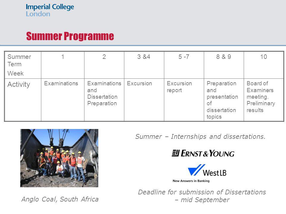 Summer Programme Summer Term Week 123 &45 -78 & 910 Activity ExaminationsExaminations and Dissertation Preparation ExcursionExcursion report Preparati