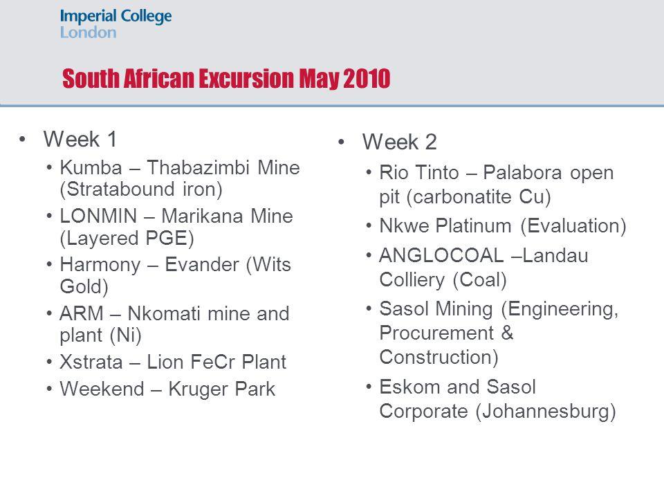 Week 1 Kumba – Thabazimbi Mine (Stratabound iron) LONMIN – Marikana Mine (Layered PGE) Harmony – Evander (Wits Gold) ARM – Nkomati mine and plant (Ni)