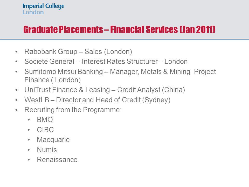 Graduate Placements – Financial Services (Jan 2011) Rabobank Group – Sales (London) Societe General – Interest Rates Structurer – London Sumitomo Mits