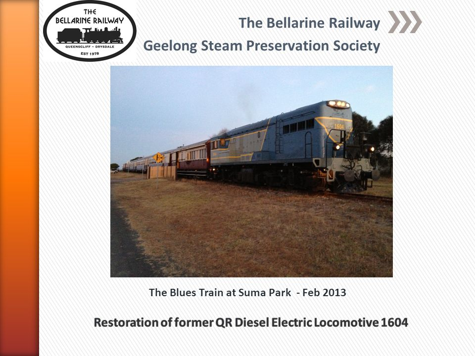The Bellarine Railway Geelong Steam Preservation Society The Blues Train at Suma Park - Feb 2013