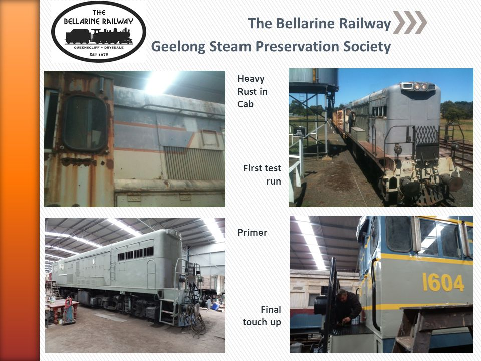 The Bellarine Railway Geelong Steam Preservation Society 1604 in as-purchased cndition prior to lifting at Rosewood Heavy Rust in Cab First test run Primer Final touch up