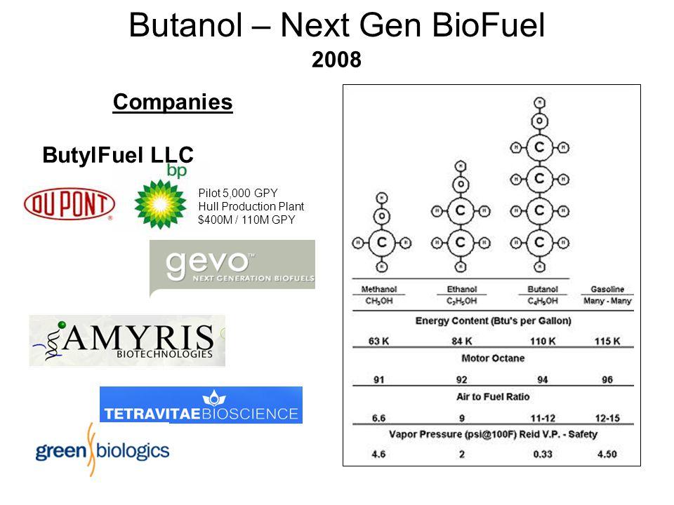 Butanol – Next Gen BioFuel Companies ButylFuel LLC 2008 Pilot 5,000 GPY Hull Production Plant $400M / 110M GPY