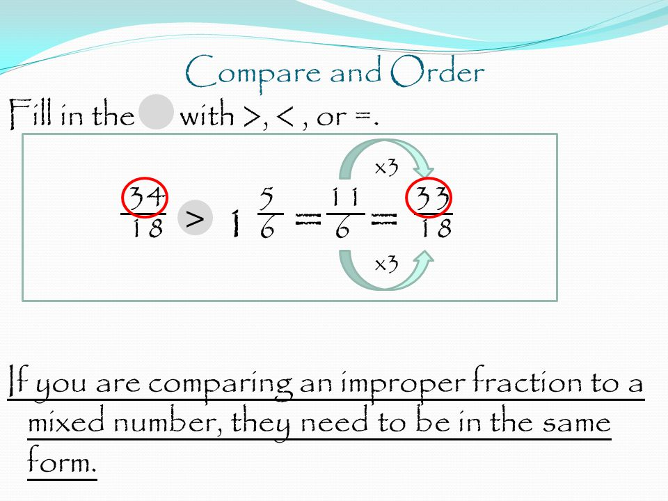 Compare and Order Fill in the with >, <, or =.