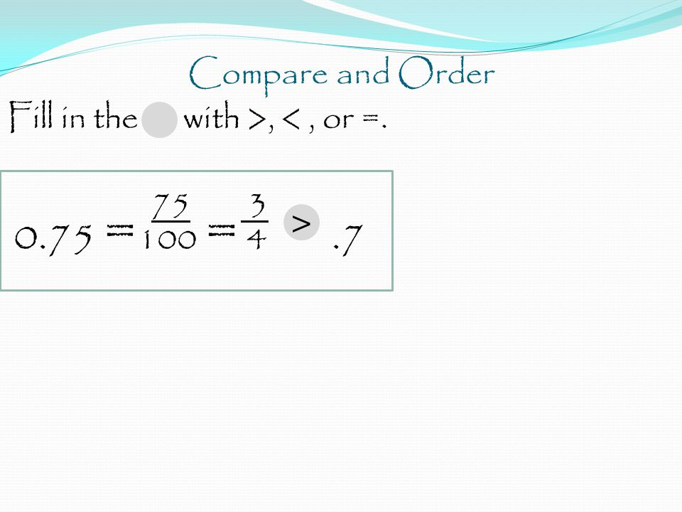 Compare and Order Fill in the with >, <, or =. 75 3 0.75 = 100 = 4.7 >