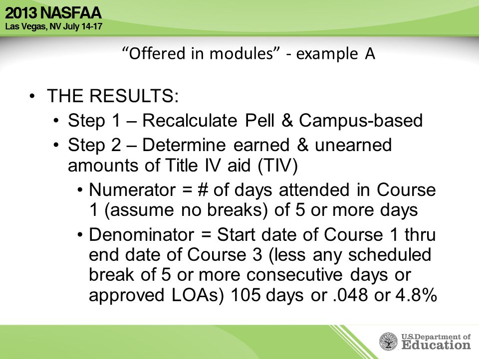 Offered in modules - example A THE RESULTS: Step 1 – Recalculate Pell & Campus-based Step 2 – Determine earned & unearned amounts of Title IV aid (TIV) Numerator = # of days attended in Course 1 (assume no breaks) of 5 or more days Denominator = Start date of Course 1 thru end date of Course 3 (less any scheduled break of 5 or more consecutive days or approved LOAs) 105 days or.048 or 4.8%