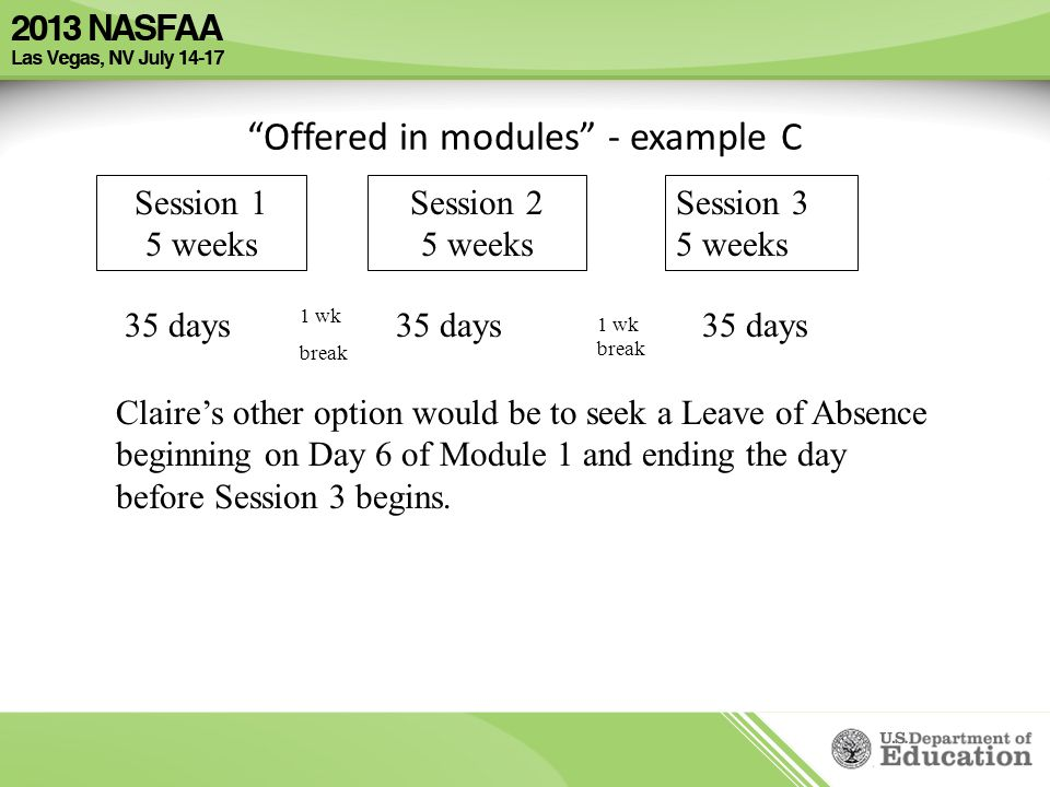 Offered in modules - example C Session 1 5 weeks Session 2 5 weeks Session 3 5 weeks 35 days Claire's other option would be to seek a Leave of Absence beginning on Day 6 of Module 1 and ending the day before Session 3 begins.
