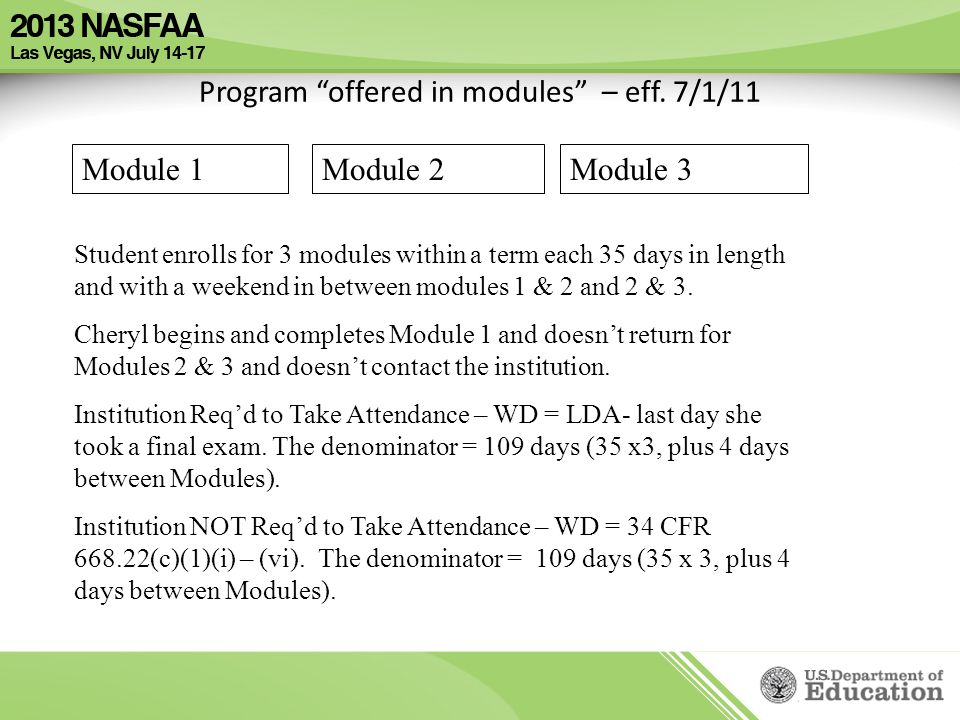 Program offered in modules – eff.