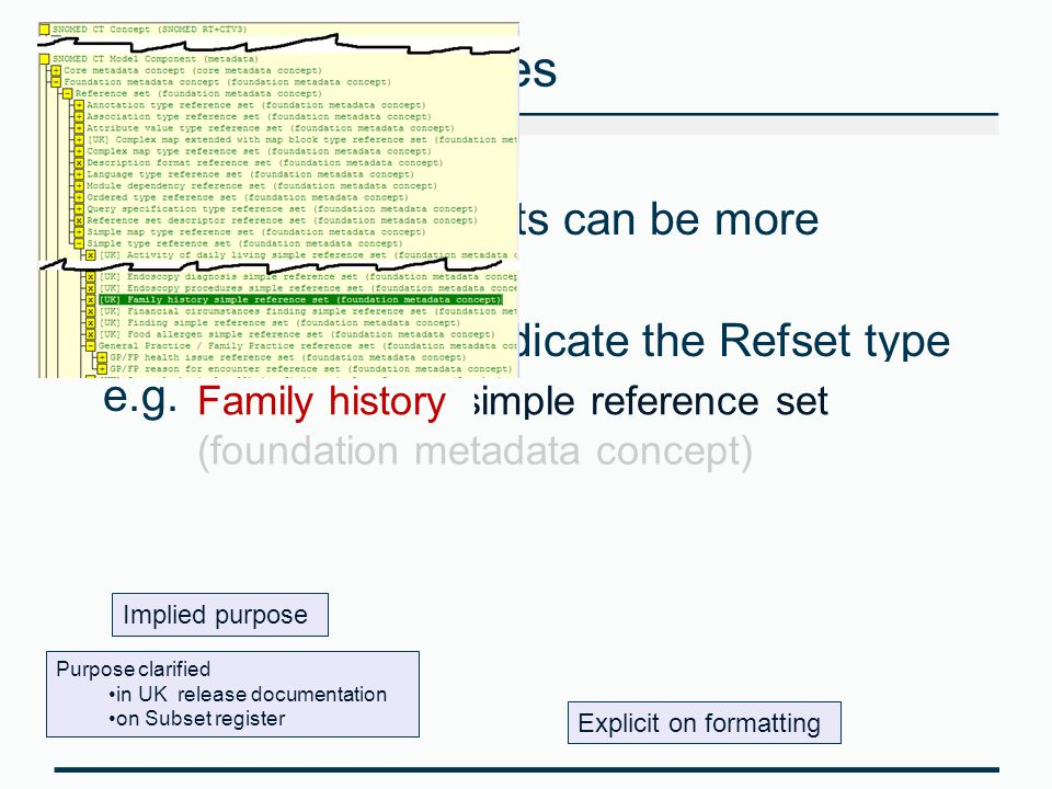 Reference Set names The labels for Refsets can be more verbose Addition of text to indicate the Refset type e.g. 'Family history simple reference set'