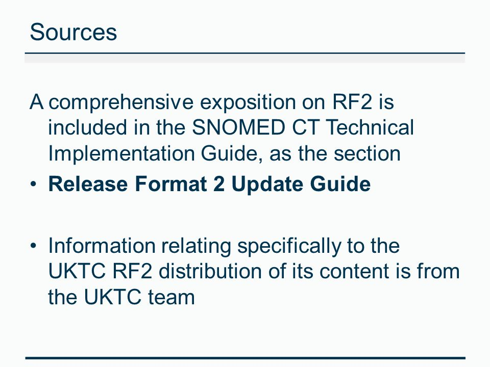 Difference in files included RF2 Possible types are: Concept Description Relationship Identifier; Refset (all subtypes) RF1 Possible file types are: Concepts Descriptions Relationships ComponentHistory; References; Subsets SubsetMembers; CrossMapSets; CrossMaps; CrossMapTargets; TextDefinitions; Canonical; DualKeyIndex; WordKeyIndex; StatedRelationships.