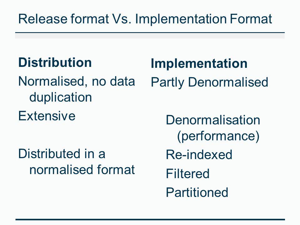 Release format Vs. Implementation Format Distribution Normalised, no data duplication Extensive Distributed in a normalised format Implementation Part