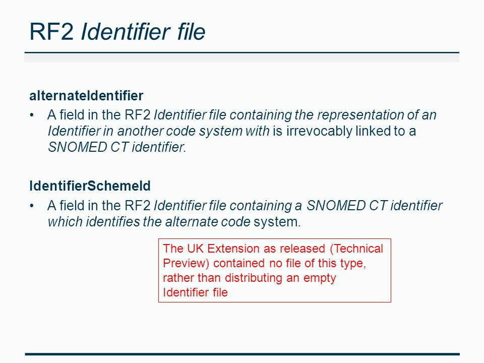 RF2 Identifier file alternateIdentifier A field in the RF2 Identifier file containing the representation of an Identifier in another code system with