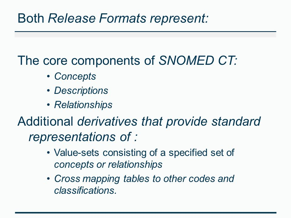 Both Release Formats represent: The core components of SNOMED CT: Concepts Descriptions Relationships Additional derivatives that provide standard rep