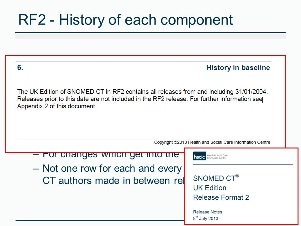 RF2 - History of each component In RF2 all changes in components are represented by adding a row (same component ID) with: –a new effective time –any