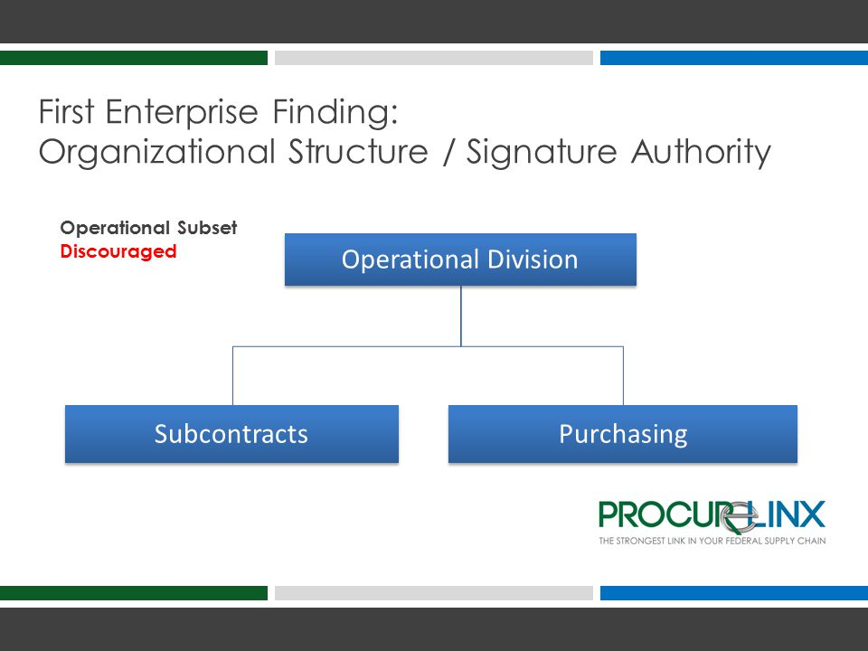 First Enterprise Finding: Organizational Structure / Signature Authority Operational Division SubcontractsPurchasing Operational Subset Discouraged