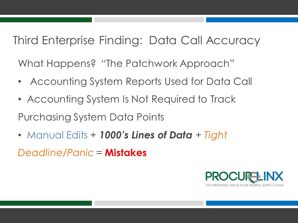 Third Enterprise Finding: Data Call Accuracy What Happens.