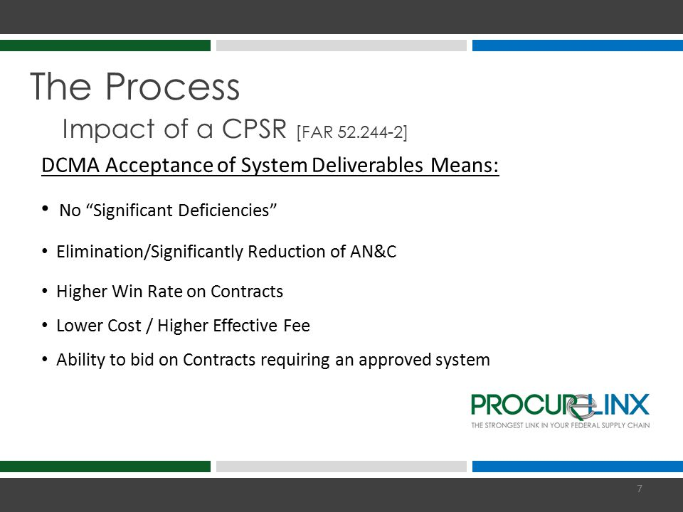 The Process Impact of a CPSR [DFARS 252.242-7005(d)] DCMA Rejection of System Deliverables Means: One or More Significant Deficiencies Significant Oversight and Monitoring (AN&C; Repeat CPSRs; Quarterly Reports) Preliminary Disqualification from Bidding on Prime Contracts 5-10% Withhold on Payments Due under DoD Prime Contracts ACO advance consent or approval could cause significant delays in meeting customer requirements 8