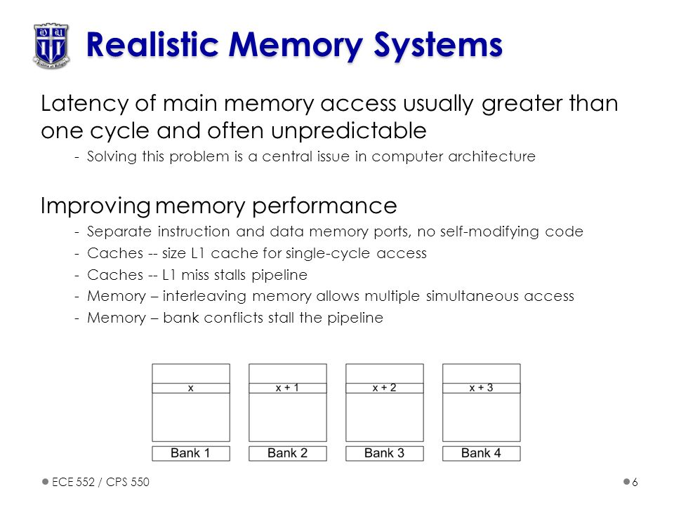 ECE 552 / CPS 5506 Realistic Memory Systems Latency of main memory access usually greater than one cycle and often unpredictable -Solving this problem is a central issue in computer architecture Improving memory performance -Separate instruction and data memory ports, no self-modifying code -Caches -- size L1 cache for single-cycle access -Caches -- L1 miss stalls pipeline -Memory – interleaving memory allows multiple simultaneous access -Memory – bank conflicts stall the pipeline