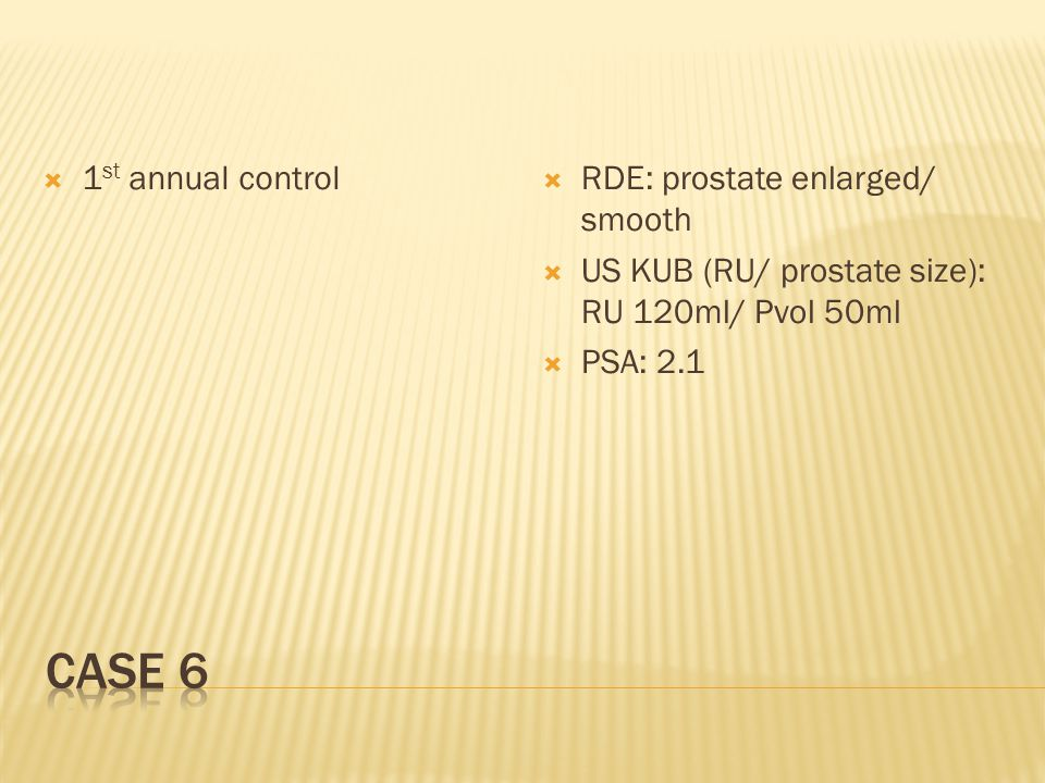  1 st annual control  RDE: prostate enlarged/ smooth  US KUB (RU/ prostate size): RU 120ml/ Pvol 50ml  PSA: 2.1