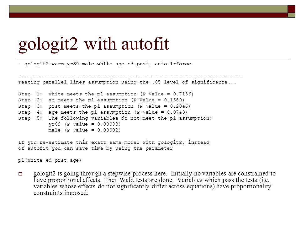 gologit2 with autofit. gologit2 warm yr89 male white age ed prst, auto lrforce -----------------------------------------------------------------------