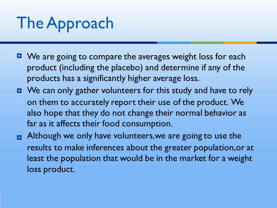  We are going to compare the averages weight loss for each product (including the placebo) and determine if any of the products has a significantly higher average loss.