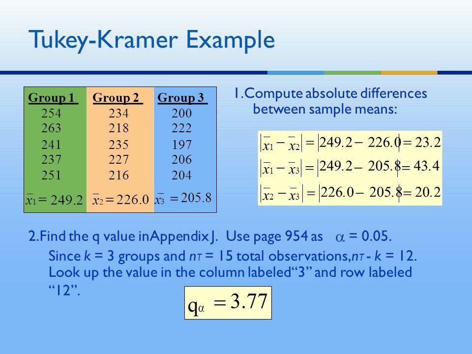 Tukey-Kramer Example Group 1 254 263 Group 2 234 218 Group 3 200 222 241 237 251 235 227 216 197 206 204 20.2226.0 205.8 x3x3 x2x2 23.2 43.4 249.2 226