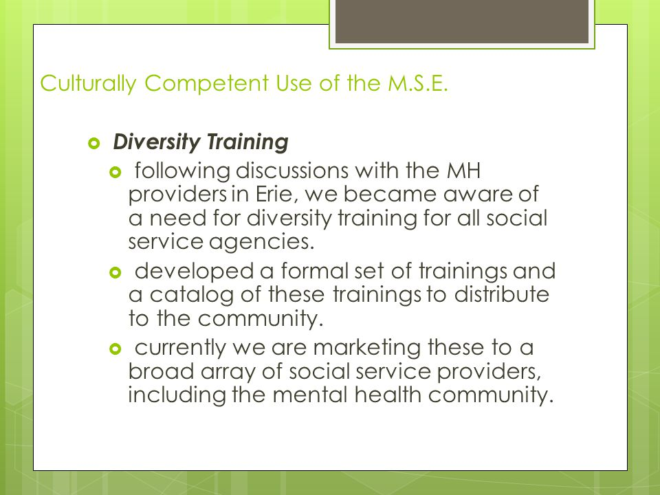 Culturally Competent Use of the M.S.E.  Diversity Training  following discussions with the MH providers in Erie, we became aware of a need for diver