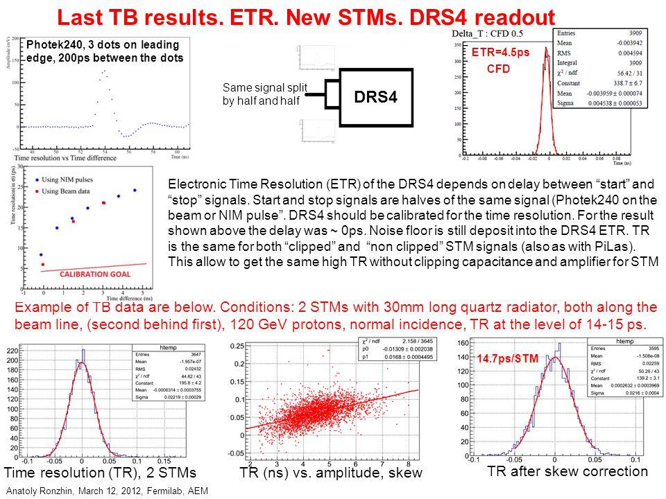 Anatoly Ronzhin, March 12, 2012, Fermilab, AEM Last TB results.