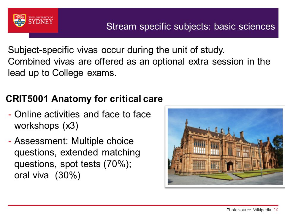 Stream specific subjects: basic sciences Subject-specific vivas occur during the unit of study.