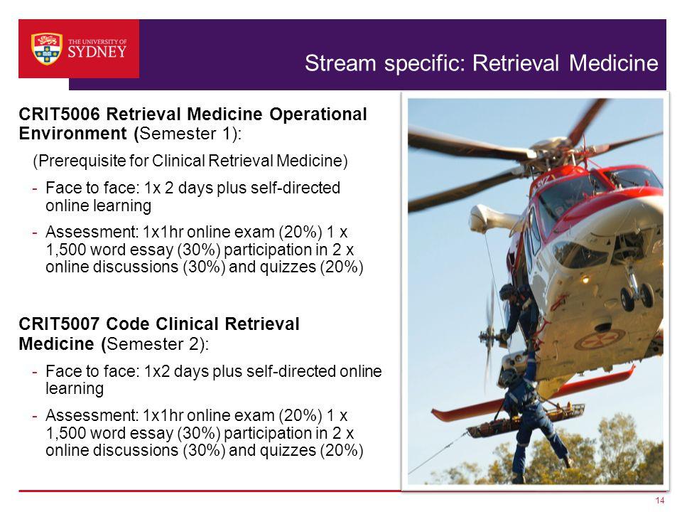 Stream specific: Retrieval Medicine CRIT5006 Retrieval Medicine Operational Environment (Semester 1): (Prerequisite for Clinical Retrieval Medicine) -