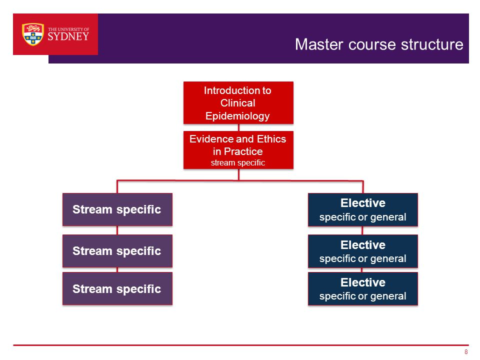 Master course structure 8 Evidence and Ethics in Practice stream specific Evidence and Ethics in Practice stream specific Elective specific or general