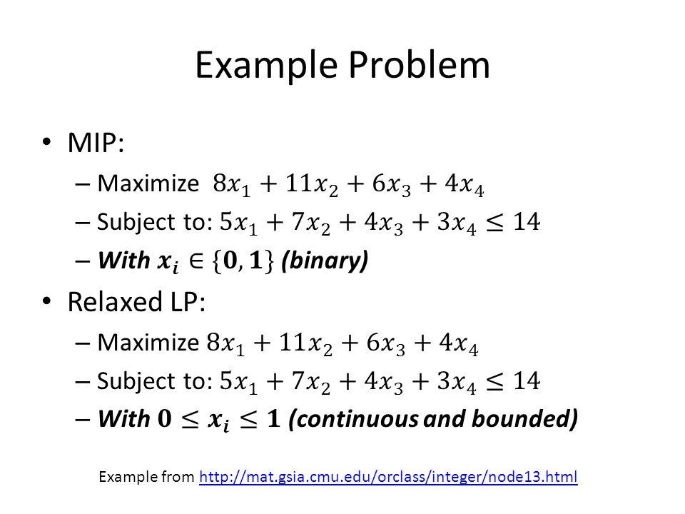 Example Problem Example from http://mat.gsia.cmu.edu/orclass/integer/node13.htmlhttp://mat.gsia.cmu.edu/orclass/integer/node13.html