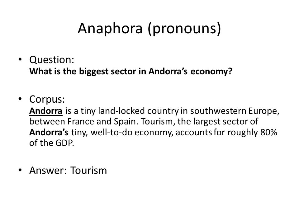 Anaphora (pronouns) Question: What is the biggest sector in Andorra's economy.