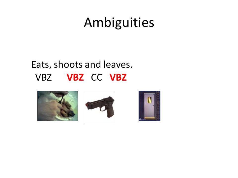 Ambiguities Eats, shoots and leaves. VBZ VBZ CC VBZ