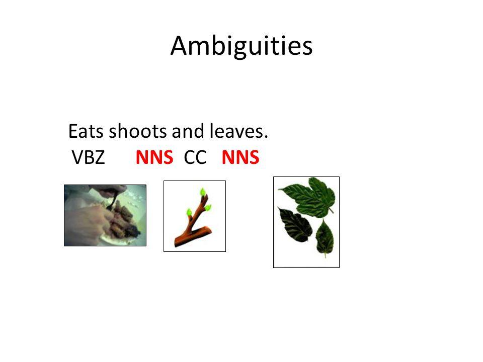 Ambiguities Eats shoots and leaves. VBZ NNS CC NNS
