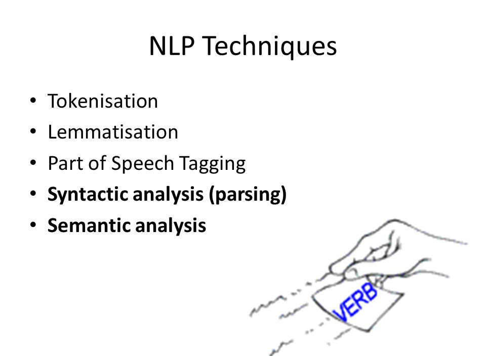 NLP Techniques Tokenisation Lemmatisation Part of Speech Tagging Syntactic analysis (parsing) Semantic analysis