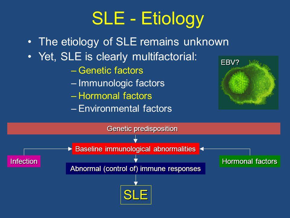 SLE - Etiology The etiology of SLE remains unknown Yet, SLE is clearly multifactorial: –Genetic factors –Immunologic factors –Hormonal factors –Enviro