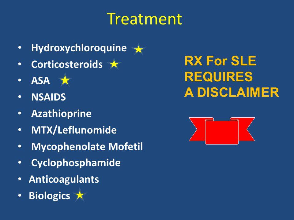 Treatment Hydroxychloroquine Corticosteroids ASA NSAIDS Azathioprine MTX/Leflunomide Mycophenolate Mofetil Cyclophosphamide Anticoagulants Biologics R