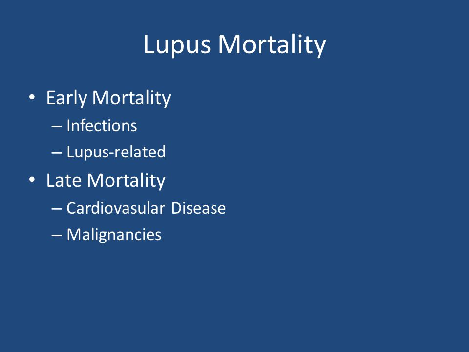 Lupus Mortality Early Mortality – Infections – Lupus-related Late Mortality – Cardiovasular Disease – Malignancies