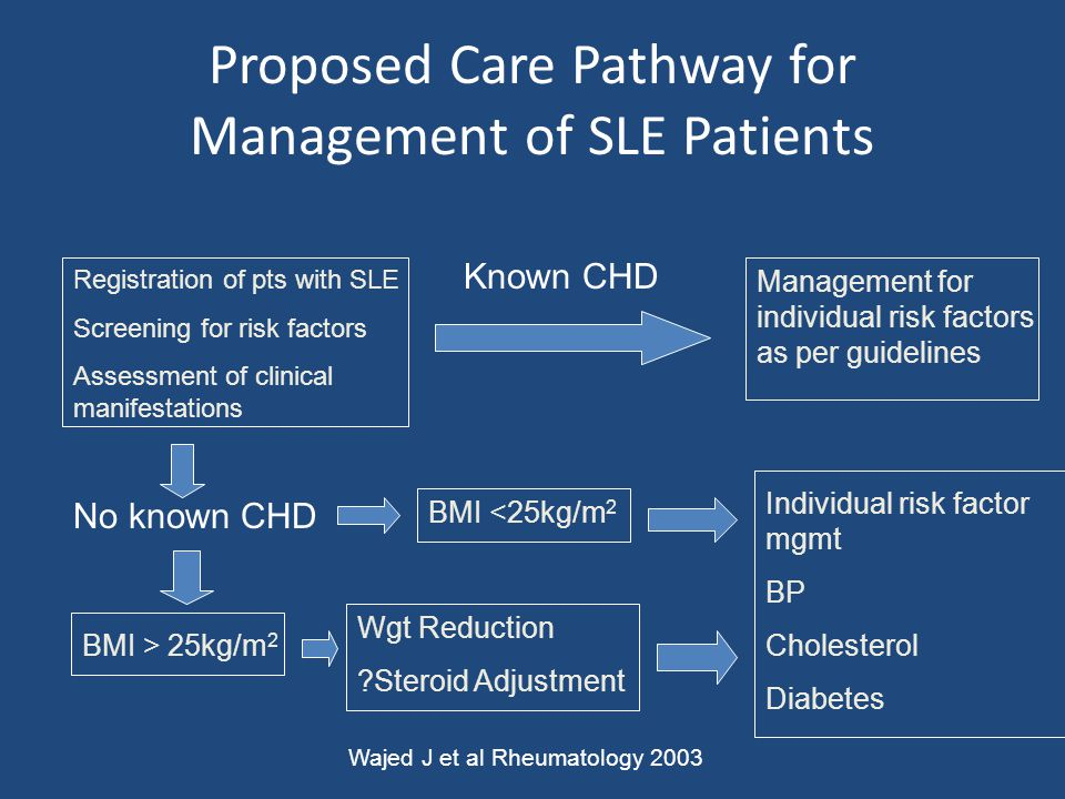 Proposed Care Pathway for Management of SLE Patients Registration of pts with SLE Screening for risk factors Assessment of clinical manifestations Man