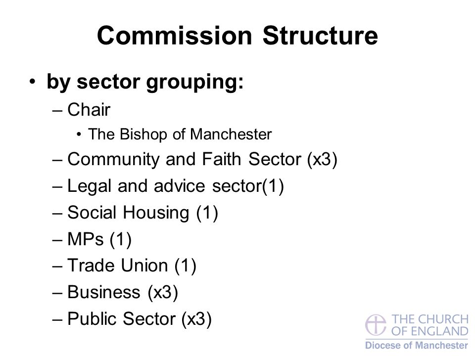 Commission Structure by sector grouping: –Chair The Bishop of Manchester –Community and Faith Sector (x3) –Legal and advice sector(1) –Social Housing (1) –MPs (1) –Trade Union (1) –Business (x3) –Public Sector (x3)